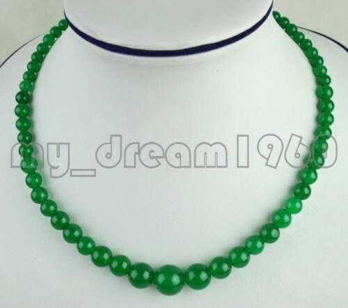 NATURAL 6-14MM Malay GREEN JADE ROUND GEMSTONE BEADS NECKLACE 17/'/'