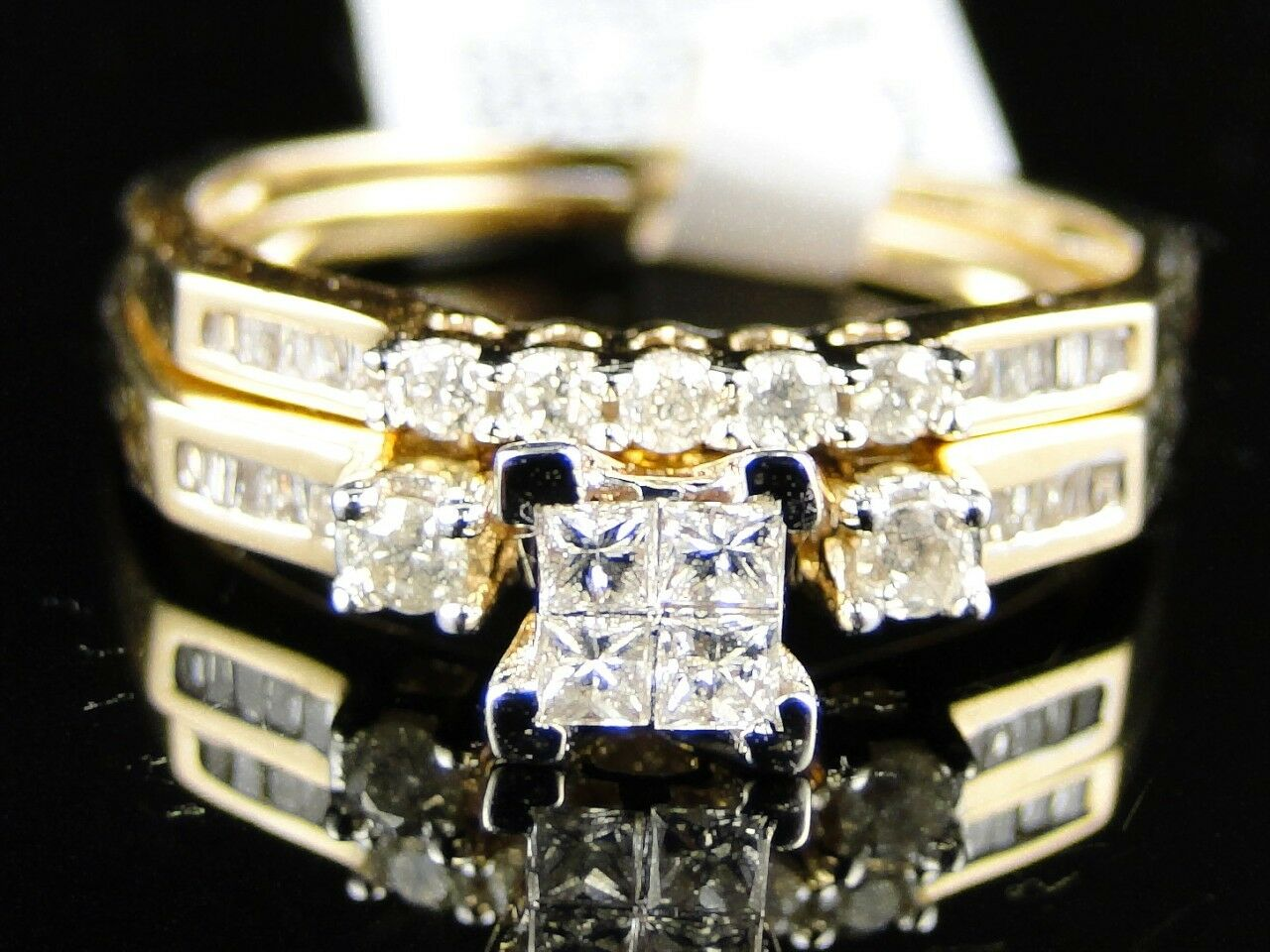 Women's Yellow gold Princess Cut Diamond Wedding Bridal Engagement Ring Set 1 2