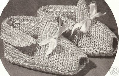 Vintage Crochet PATTERN to make Baby Booties Soft Shoes Moccasins SoftShoes