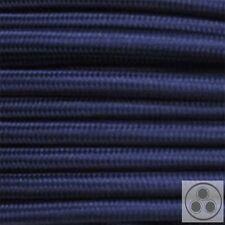 Textilkabel Stoffkabel Lampen-Kabel Stromkabel Elektrokabel Dunkelblau 3 adrig