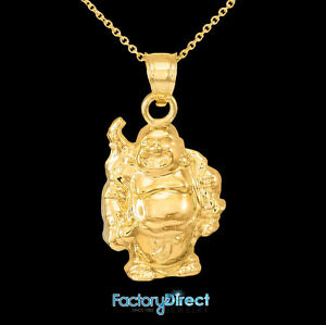 Gold laughing buddha pendant necklace ebay image is loading gold laughing buddha pendant necklace aloadofball Image collections