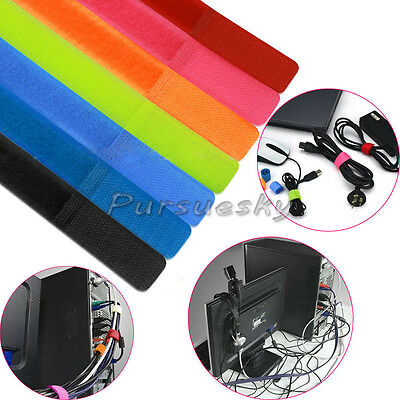 7 Colors Straps Wrap Wire Velcro Cable Organizer Cord Holder Tie Rope For PC TV