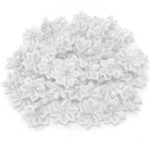 White-Satin-Ribbon-Flowers-with-Rhinestone-Diamante-Centre-25mm-Craft-Flower