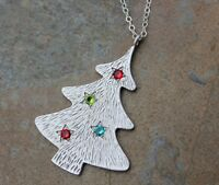 White Christmas Tree Necklace- Platinum Plated Charm, Sterling Silver Chain
