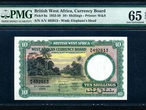 British-West-Africa-P-9-10-Shillings-1958-River-scene-PMG-Gem-UNC-65-EPQ