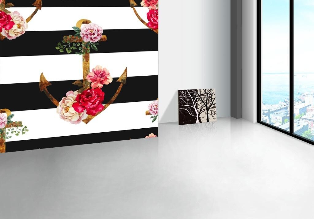 3D Striped Flowers 73 Wallpaper Mural Paper Wall Print Wallpaper Murals UK Lemon