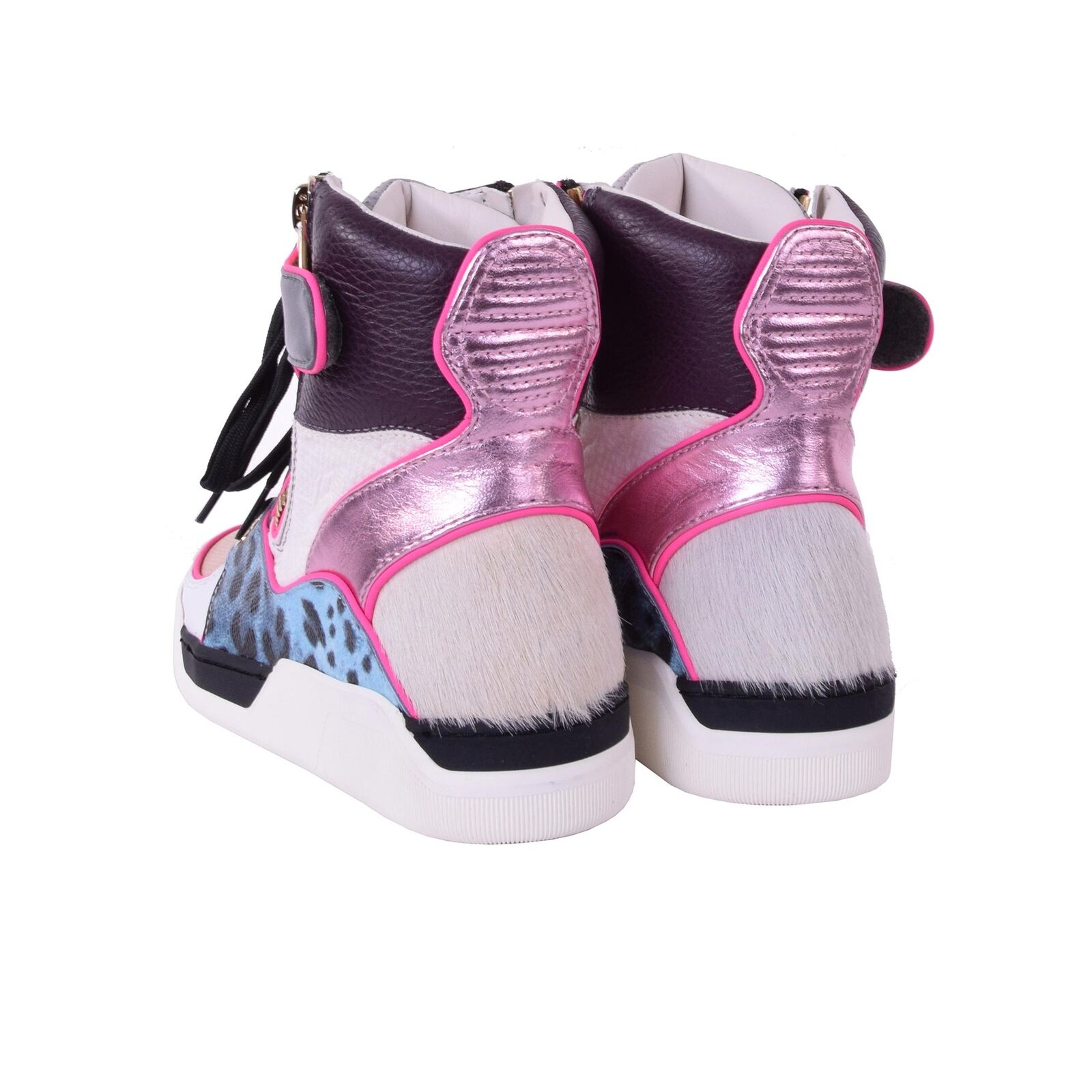 DOLCE & GABBANA Patchwork High-Top Fell Sneakers Sneaker aus Leder Fell High-Top Brokat 05871 bcf353