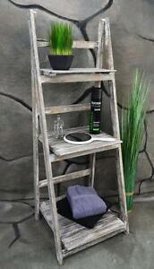 badregal leiterregal standregal regal holz shabby chic wei lv1011 ebay. Black Bedroom Furniture Sets. Home Design Ideas