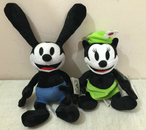 """Disney Parks Oswald the Lucky Rabbit and Ortensia Plush Doll 9/"""" Set New"""