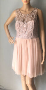 Lipsy-Womens-Fit-Flare-Mini-Lace-Detail-Dress-Tulle-Skirt-UK-Size-8-Peach-Exc