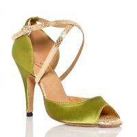 New Ladies Satin Fashion Ballroom Latin Tango Salsa Dance Shoes Heeled