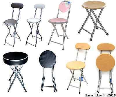 AQS 2 x Beechwood Effect Folding Breakfast Bar Stool High Chair With Back Rest 94cm