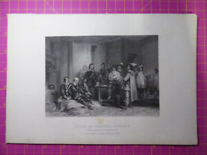 Antique-1880-Engraving-DEATH-OF-GENERAL-LINDSEY-After-EdgeHill-English-Civil-War