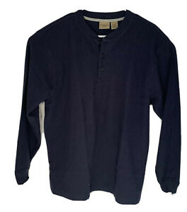 LL-Bean-Waffle-Knit-Thermal-Black-Shirt-Men-s-Red-Long-Sleeve-Cotton-Size-L-Reg