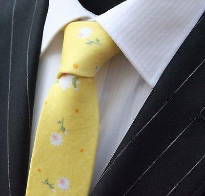 Utile Tie Cravatta Sottile Giallo Con Qualità Fiore Cotone T6175-mostra Il Titolo Originale I Cataloghi Saranno Inviati Su Richiesta