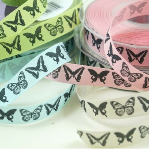 Pink Kiwi Couture Dancing Butterflies Ribbon 2m x 15mm In Sky Pumice