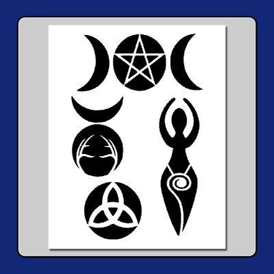 8 X 10 Wiccanwitch Symbols Stencil Godgoddesspentagram Craft