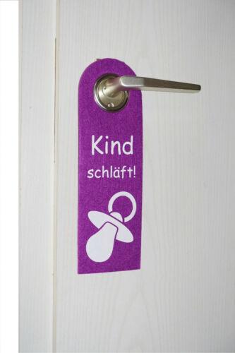 GKA Filzschild Türschild Türhänger lila Kind schläft Filz dicke Qualität