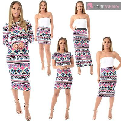 Womens Bodycon Fit Aztec Print Long Short Sleeve Mini Maxi Midi Dress Skirt 8-22 Hohe Belastbarkeit