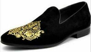 Handmade-Men-039-s-Black-Velvet-Slip-Ons-Loafer-Gold-Embroidery-Patches-Shoes