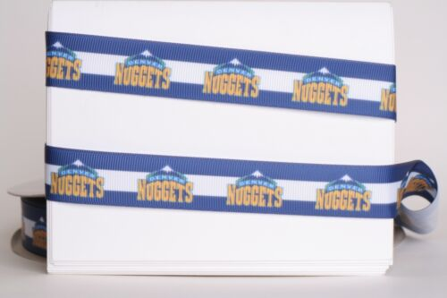 "DENVER NUGGETS BASKETBALL 7//8/"" Grosgrain Ribbon Various Yard SHIP FROM USA"