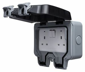 Waterproof Outdoor Double Pôle Switched Socket Boîte Externe électrique Safe Plug