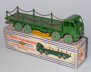 Dinky Supertoys # 905 Camion Plat Foden Avec Chaînes Vert Superbe Original En Boîte
