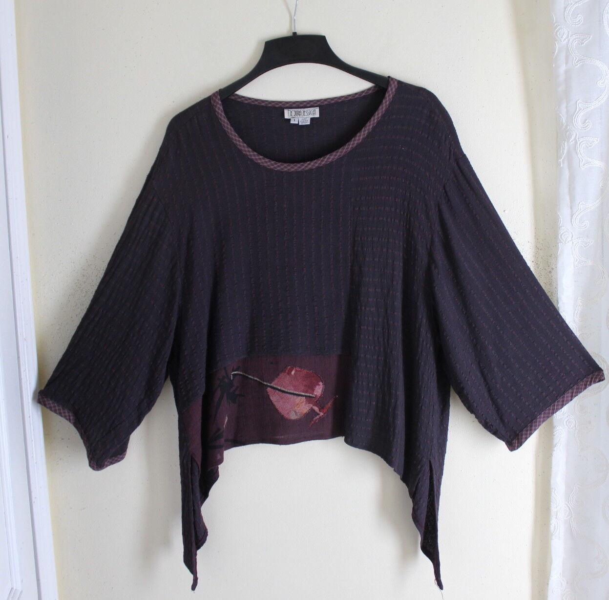 damen Jessica -Sz S M L 1 Plaid Funky Flowing Lagenlook Art-to-Wear Shirt Top