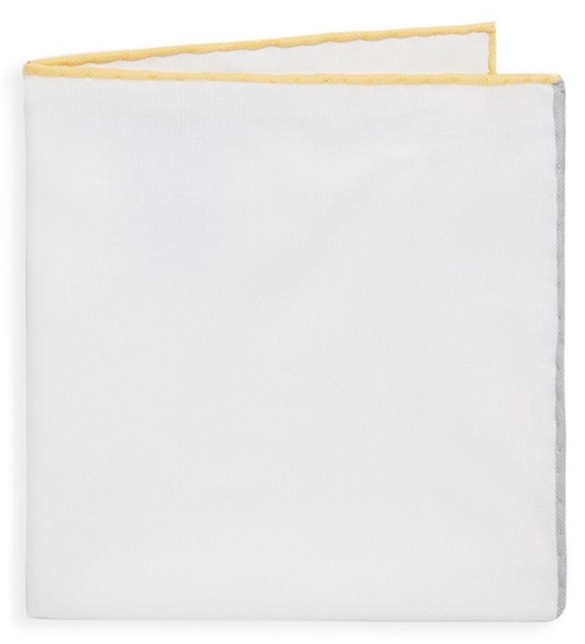 Brunello Cucinelli Pocket Square White Contrast Line Yellow BNWT