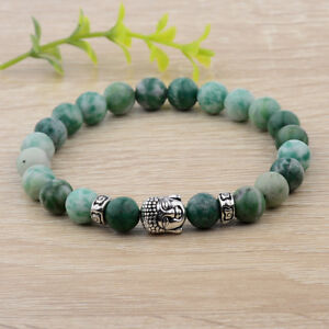 Men-Women-Natural-Gemstone-Beads-Buddha-Head-Beaded-Lava-Rock-Fashion-Bracelets
