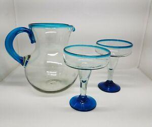 Hand Blown Mexican Glass Pitcher & 2 Margarita Glasses, Bright Aqua Blue Accents