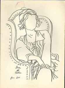 J-Cocteau-signed-intermediate-pencil-drawing-on-paper-039-Coco-Chanel-039-COA