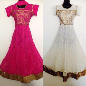 Ladies-Indian-Pakistani-Party-wear-Pink-White-Anarkali-Salwar-Kameez-Size-38-37
