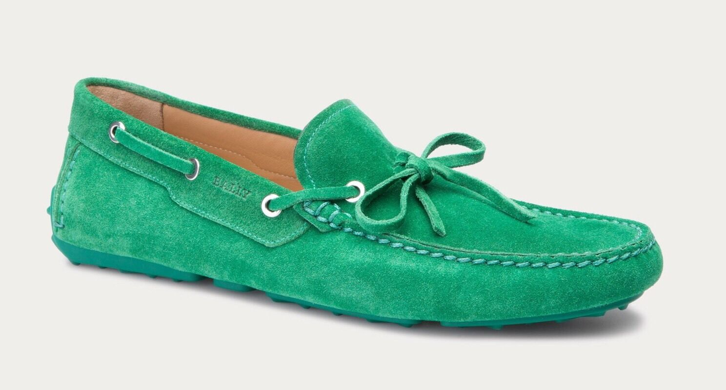 550 Bally Green Dramer Suede Driver Size US 9