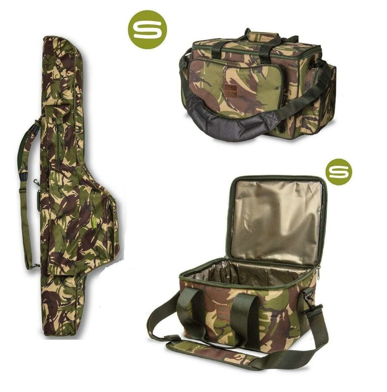 Saber DPM Camo 12ft 5 Rod Sleeve+ Saber DPM Carryall+ Saber DPM Camo Cooler Bag