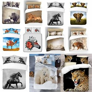 UK-Made-3D-Diseno-Animal-Print-Foto-Digital-cubierta-del-edredon-edredon-con-fundas-de-almohada