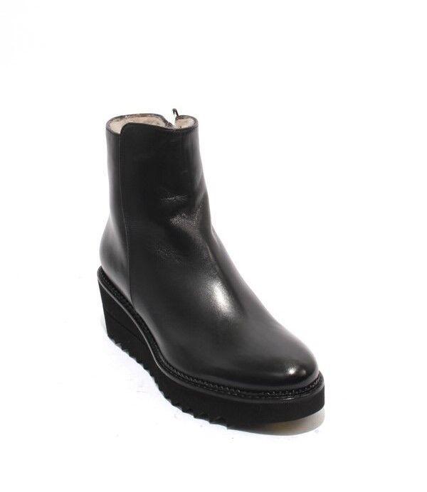100% nuovo di zecca con qualità originale Luca Grossi Grossi Grossi 5808 nero Leather Zip-Up Shearling Wedge Ankle stivali 37   US 7  promozioni