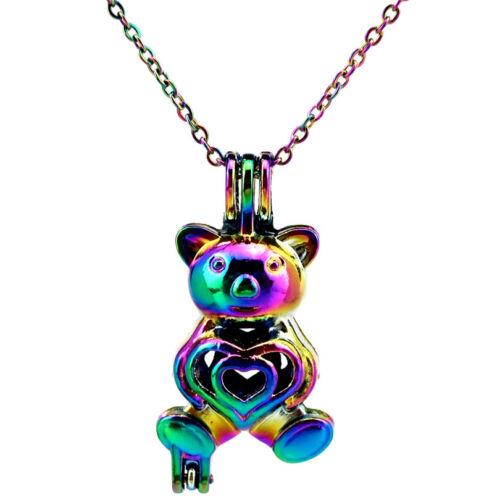 C290 Rainbow Multi Color Bear Pearl-Cage perles cage-Chaîne