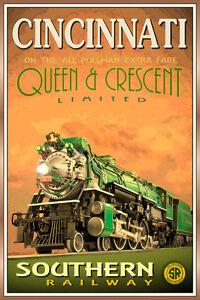 CINCINNATI OH- QUEEN & CRESCENT LTD Southern Railway Train Poster-Art Print 228