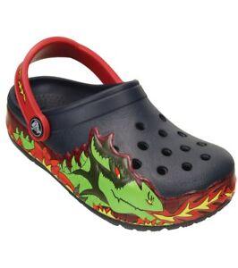 2ad7a0f626a68c Kids Crocs Light Fire Dragon Clog Sandal 202661 Navy 100% Original ...