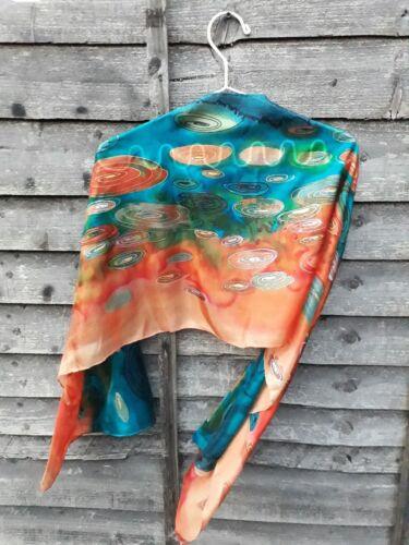 Lussuoso dipinta a mano Gustav Klimt Stile Pura Seta Sciarpa Scialle Foulard Scialle ART