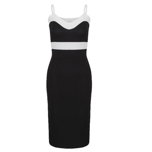 Women Celeb Sleeveless Strappy Contrast Bodycon Midi Pencil Dress Plus Size12-18