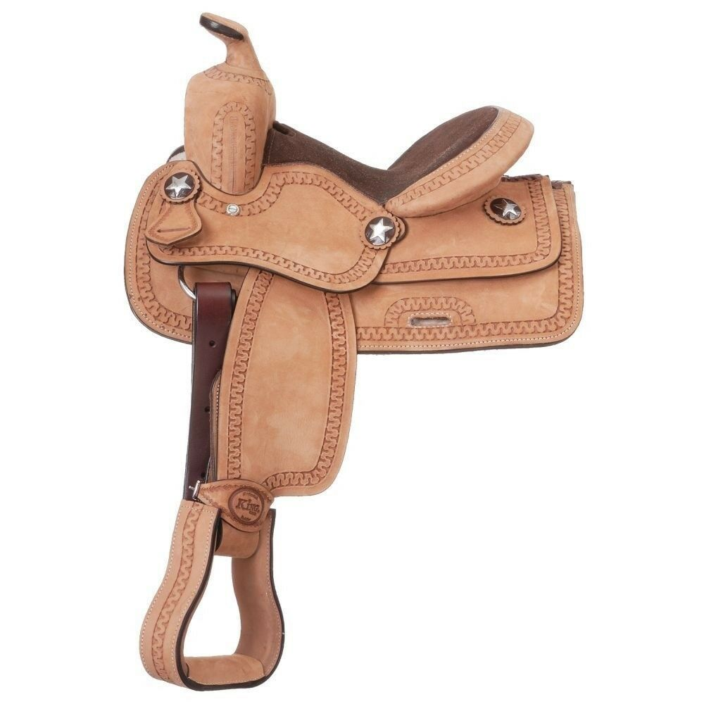 Tough1 Youth Cowboy Roughout Western Saddle with Serpentine Tooling
