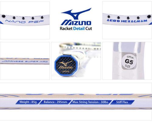 Mizuno JPX 8.3 Badminton Racket Racquet String Shaft 4UG5 White Blue with Cover