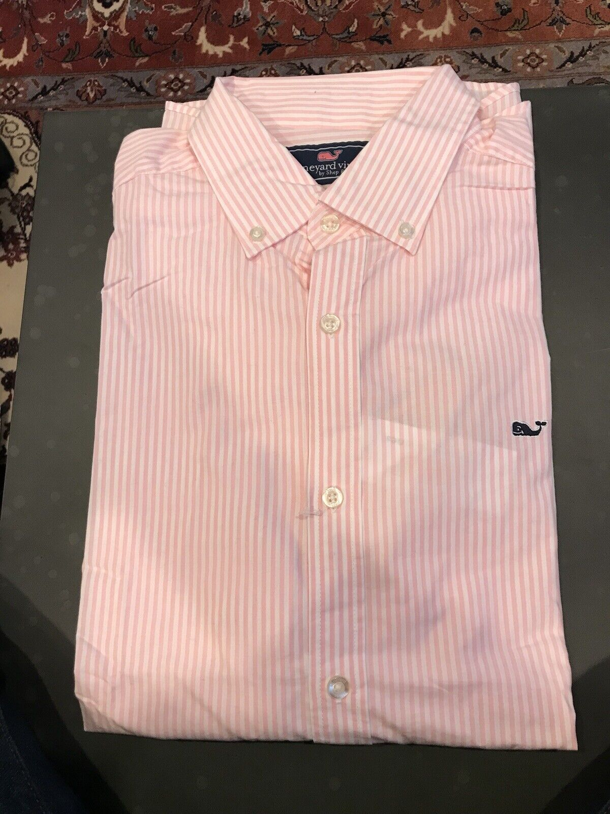 Vineyard Vines Pink And White Striped Button Down Shirt - Large