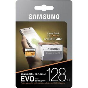 Samsung-EVO-128GB-microSDXC-UHS-I-tarjeta-de-memoria-C10-U3-4K-100MB-s-Adaptador-Sd