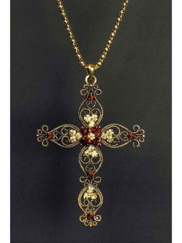 Halskette mit Kreuz Keltisch Gold mit Steinen Karneval Kostüm Accessoires