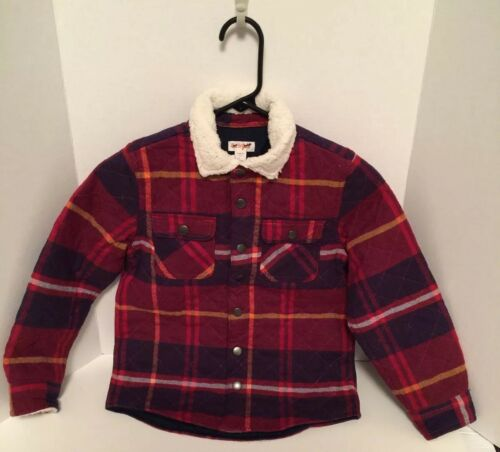 NEW Cat /& Jack Boys Youth Jacket Red Plaid Flannel Faux Fur Collar Snap Front