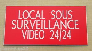 """Magasiner Pour Pas Cher Plaque Gravée Signaletique """"local Sous Surveillance Video 24/24"""" Ft 150 X 75 Mm"""