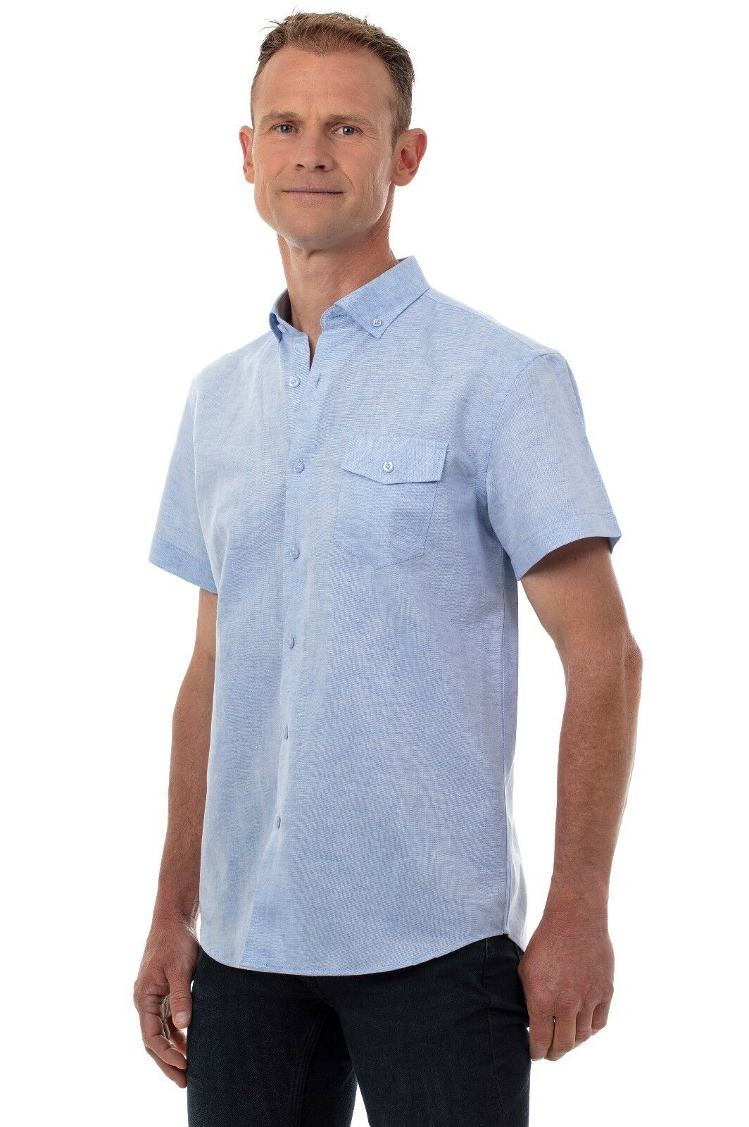 UGHOLIN Men's Linen and Cotton Button-Down Adjusted Fit Short Sleeve Shirt, bluee